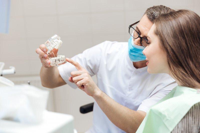 dentist discusses dental implants with diabetic patient
